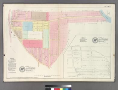 Plate 26: Map 22 [Bounded by Harlem Rail Road, Union Avenue, Gamberleng Avenue and Road leading from Kingsbridge to West Farms.] - Mp No. 27: [Bounded by Railroad Ave. (Harlem Railroad), Quarry Road, Pine St., Central Ave., Locust Ave., and Morris St.]
