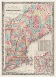 G. Woolworth Colton's railroad, township & distance map of New England : with adjacent portions of New York, Canada & New Brunswick