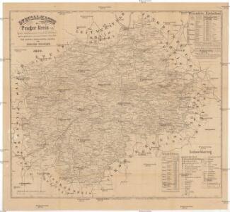 Special-Karte des Prager Kreis resp. politi. Karolinenthaler Verwaltungsbezirkes nach der politischen Eintheilung Böhmens v. Jahre 1868