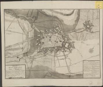 Plan de la ville d'Air et du Fort St. Francois et de ses trois attaques dans l'estat qu'elle estoit quand elle fut assiegée par les Hauts Alliés sous le commandement de S. A. S. Monseig. le Prince d'Anhalt Dessau l'an 1710 ayant été investie le 6me du [...]