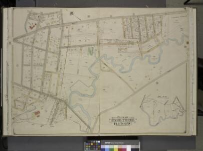 Queens, Vol. 3, Double Page Plate No. 6; Part of ward Three Sub Plan; [Map bounded by Flushing Creek; Including Fowler St., Willow     St., Lawrence St.]; Part of ward Three Flushing. [Map bounded by Bradford Ave.,  Sanford Ave., Maple Ave., Prospect