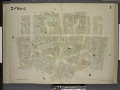 [2nd Ward. Plate: I Map bounded by William Street,    Beekman Street, Gold Street, Ferry Street, Cliff Street, Pearl Street, Platt     Street; Including Riders Alley, Cliff Street, John Street, Fulton Street]