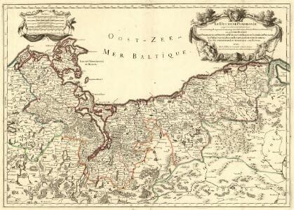 Le Duché de Pomeranie , compris sous le Cercle de la Haute Saxe, divisé suivant quil est presentement partagé entre la Couronne de Suede, et l'Eslecteur de Brandebourg ou sont Les Duchés de Pomeranie, de Stettin, de Wolgast, de Bardt, de Cassubie, et de Vandalie, la Principauté et Isle de Rugen, le Comté de Gutzkow, les Seigneuries de Louwenboch et de Butow