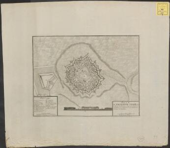 Plan de Philippe-Ville: dans le Comté de Hainaut située a 50. degrez et 16 minutes de latitude, et à 25. degrez et 53. minutes de longitude