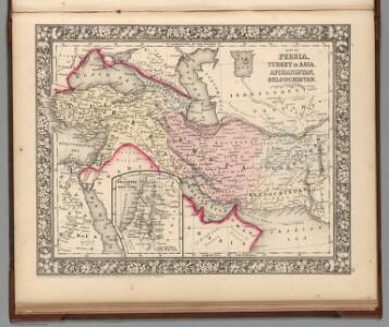 Map of Persia, Turkey in Asia. Afghanistan, Beloochistan