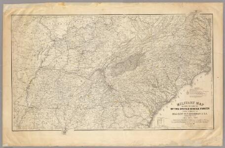 Military map showing the marches of the United States Forces 1863-1865.