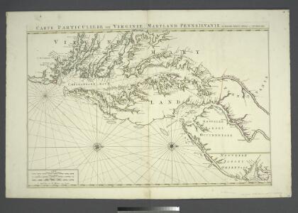 Carte particuliere de Virginie, Maryland, Pennsilvanie, la Nouvelle Iarsey orient et occidentale.