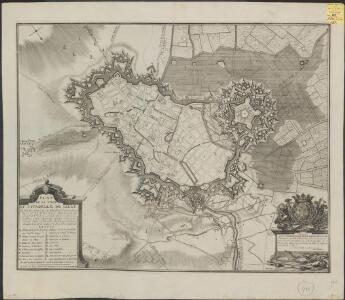 Plan de la ville et citadelle de Lille: la ville fut attaquée par les Alliés sous le commandement de S. A. Le Prince Eugene de Savoye le 22. Aoust, & se rendit le 22. Octobre 1708 : l'ennemy s'estant retiré par accord dans la citadelle, elle fut pareil [...]