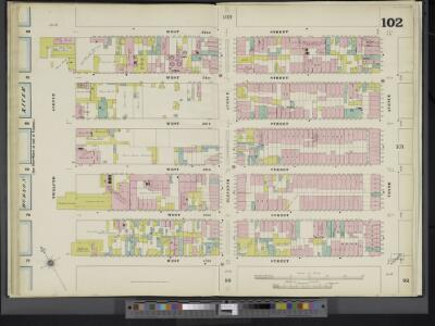 Manhattan, V. 5, Double Page Plate No. 102 [Map bounded by W. 52nd St., 10th Ave., W. 47th St., 12th Ave.]