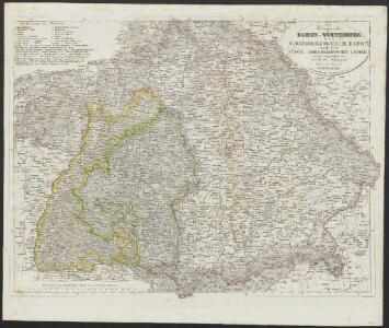 [Neuer Atlas der ganzen Erde nach den neuesten Bestimmungen ... : XVII.] Die Königreiche Baiern u. Würtemberg, das Grossherzogthum Baden und die Fürstl. Hohenzollernschen Laender