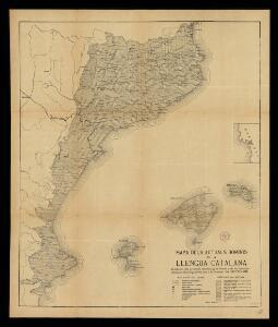 Mapa dels actuals dominis de la llengua catalana: ab indicació dels principals dialectes qui la formen y de les localitats estudiades lexicològicament per a la formació del Diccionari / F. de B. Moll dib.