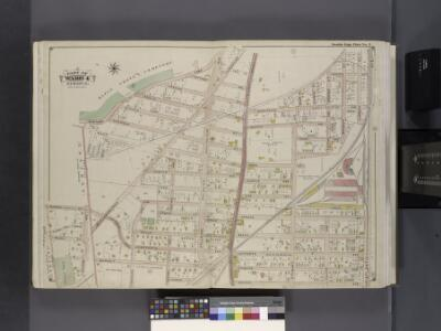Queens, V. 1, Double Page Plate No. 5; Part of Jamaica, Ward 4; [Map bounded by Maple Grove Cemetery, Atlantic Ave., Btiggs Ave., Newtown Ward boundary line]