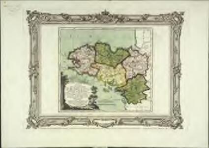 Carte des départemens des Côtes du Nord, du Finisterre, de l'Ille et Vilaine, de la Loire inférieure et du Morbihan