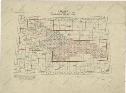 Přehled listů mapy generální 1:200 000, speciální 1:75 000 a původního vyměřování (topogr. sekcí) 1:25 000