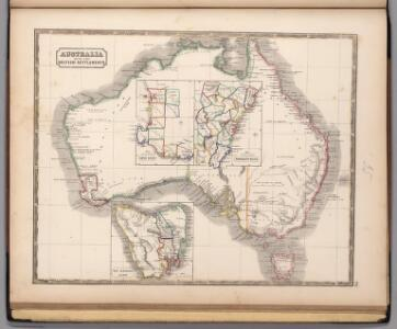 Australia with the British Settlements.  (insets)  Swan River.  New South Wales.  Van Diemans Land.
