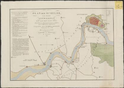 Plan der Schelde van boven Antwerpen tot aan het dorp Doel: met de positie onzer scheepsmagt by de hervatting der vyandelykheden tegen de Belgen, op den 3den augustus 1831, enz.