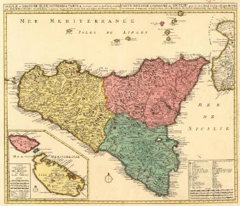 Insulae et Regni Siciliae Novissima Tabula. inventa