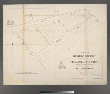 Map of valuable property situated in and adjoining the village of Flushing : (the village line running thro' the property), belonging to Mr. Gansevoort for sale by W. Smart, agent / surveyed by Benjamin F. Willets, dated July 1850.