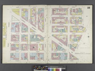 Manhattan, V. 1, Double Page Plate No. 18 [Map bounded by Spring St., Clarke St., Sullivan St., Laight St., West St.]