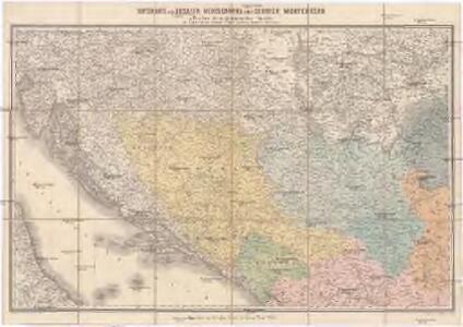 Ortskarte von Bosnien, Herzegowina nebst Serbien, Montenegro u. Theilen der angrenzenden Länder