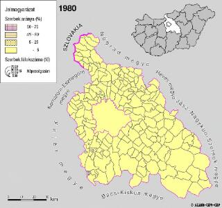 A szerbek aránya és száma Pest megyében 1980-ban