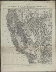 Map of California and Nevada, with parts of Utah & Arizona
