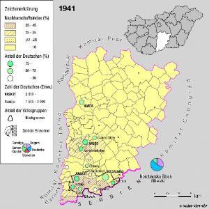 Siedlungsgebiet der Deutschen nach dem Nachbarschaftsindex für das Komitat Bács-Kiskun 1941