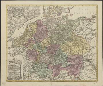 Mappa geographica exhibens postas omnes tam vehiculares quam veredarias totius Germaniae cum earum accurata distantia