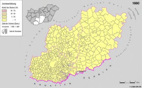 Serben in Süd-Transdanubien und im Komitat Bács-Kiskun 1880