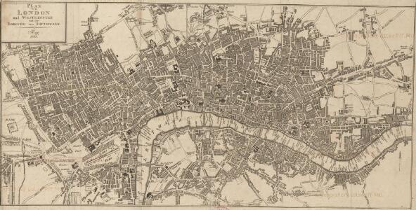 Plan von London und Westminster mit der Borough von Southwark