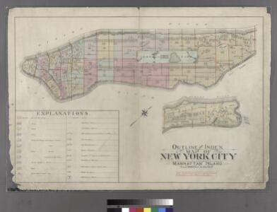 Outline and Index Map of Atlas of New York City : Manhattan Island.