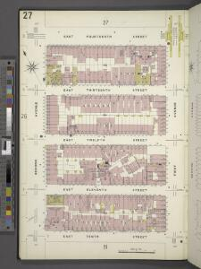 Manhattan, V. 2, Plate No. 27 [Map bounded by E. 14th St., 1st Ave., E. 10th St., 2nd Ave.]