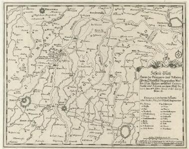 Schau-Platz deren zu Hungarn und Böheimkönigl. Majestät Siegreichen Waffen, so in Italien zwischen Campo Santo und Solara an dem Fluß Panaro den 8ten. Febr. Anno 1743 vorgefallen ist