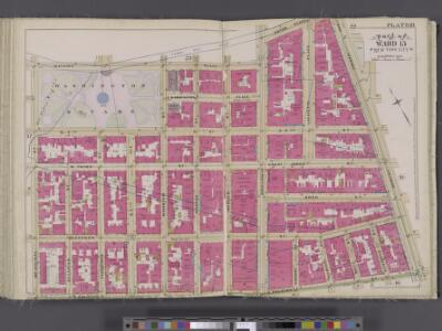 Manhattan, V. 4, Double Page Plate No. 18 [Map bounded by Waverly Place, Astor Place, Bowery, 4th Ave., E. Houston St., W. Houston St., Mac Dougal St.]