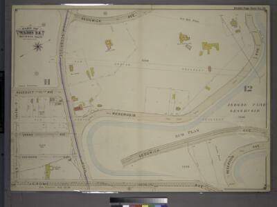Double Page Plate No. 32, Part of Ward 24, Sections 11&12. [Bounded by Aqueduct Avenue, Kingsbridge Road, Sedgwick Avenue, Reservoir Avenue (Jerome Park Reservoir), Jerome Avenue and E. 192nd Street.]