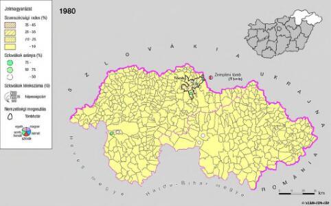 A szlovákok településterülete a szomszédsági mutató alapján Északkelet-Magyarországon 1980-ban