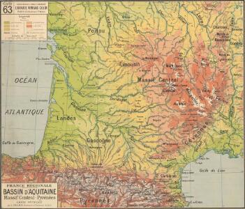 France Régionale Bassin d'Aquitaine Massif Central - Pyrénées carte physique