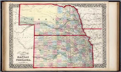 County & township map of the states of Kansas and Nebraska.