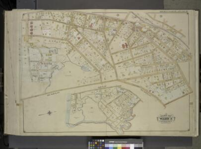 Queens, Vol. 1, Double Page Plate No. 32; Part of     Ward 5; Farrockaway; [Map bounded by Central Ave., Crescent Ave., Mc. Neil Ave.; Including Broadway Jarvis Lane, South St.]; Sub Plan; [Map bounded by Jarvis     Lane, Oak St.; Including Former Vil
