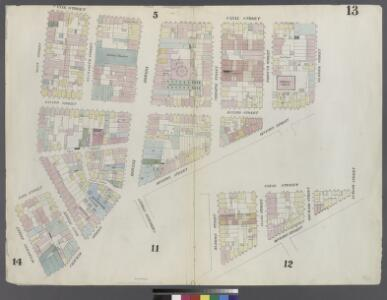 [Plate 13: Map bounded by Canal Street, Division Street, Chatham Square, Mulberry Street, Cross Street, Mott Street]