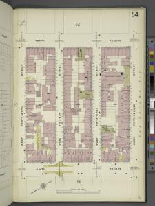 Manhattan, V. 5, Plate No. 54 [Map bounded by 10th Ave., West 52nd St., 9th Ave., West 49th St.]