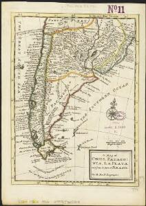 A map of Chili, Patagonia, La Plata and ye south part of Brasil