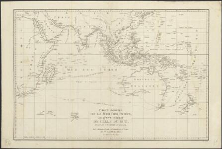 Carte réduite de la Mer des Indes, et d'une partie de celle du sud : pour la relation du voyage à la recherche de la Pérouse, du Cen. Labillardière