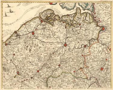Carte Contenant le Pais entre Nieuport l'Ecluse Anvers Ypres et Bruxelles