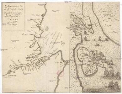 L'abbrucciamento fatto da gli vascelli Olandesi di quelli de gli Inglesi nella réuéera di Cattam anno 1666 24 di agosto