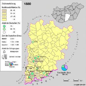 Siedlungsgebiet der Deutschen nach dem Nachbarschaftsindex für das Komitat Bács-Kiskun 1880