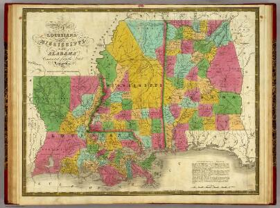 Map of Louisiana, Mississippi and Alabama.