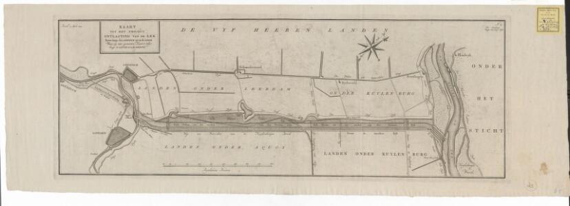 Kaart tot het project ontlasting van de Lek boven langs den Diefdyk tot in de Linge waar op een gemeeten kaart volgt langs de Linge tot in de Merwe