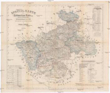 Special-Karte des Leitmeritzer Kreis - resp. politisch Verwaltungsbezirkes nach der politischen Eintheilung Böhmens vom J. 1868
