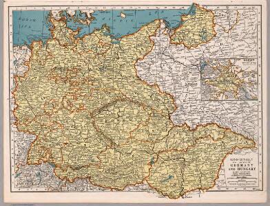 Rand McNally Popular map of Germany and Hungary